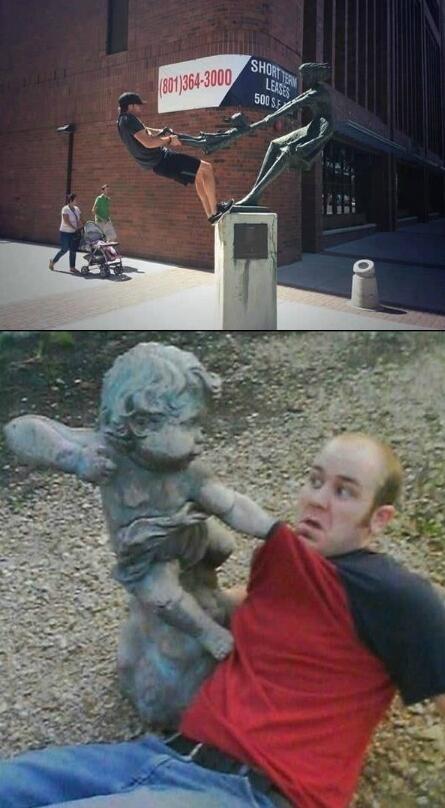 要优雅不要污:人类总和雕像过不去!